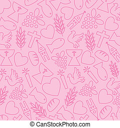 fundo cor-de-rosa, com, comunhão, ícone