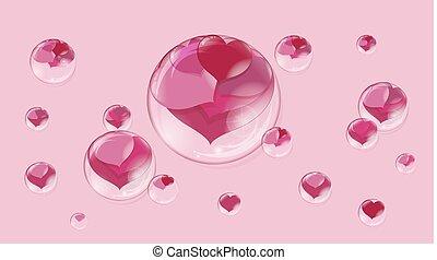 fundo cor-de-rosa, dentro, lote, corações, bolhas, bolha, sabonetes, vermelho