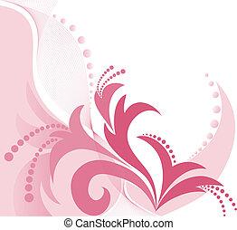 fundo, cor-de-rosa, floral