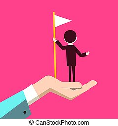 fundo cor-de-rosa, mão, bandeira, human, homem