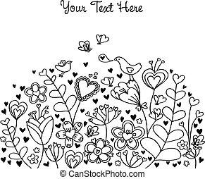 fundo, coração, floral