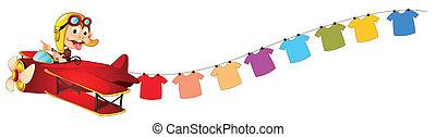fundo, costas, montando, macaco, penduradas, branco vermelho, roupas, ilustração, avião