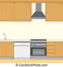 fundo, cozinha