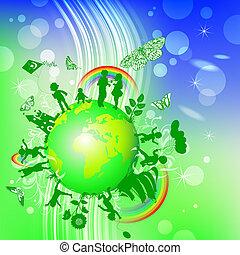 fundo, crianças, ecológico
