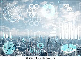 fundo, dados, mercado, cityscape, estoque