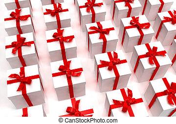 fundo, de, branca, giftboxes