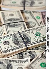 fundo, de, dólares, notas