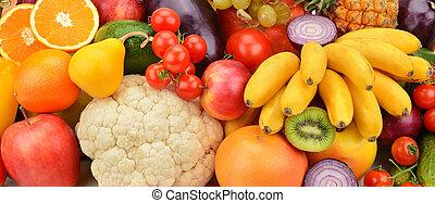 fundo, de, frutas legumes