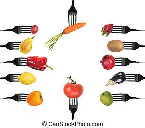 fundo, de, garfos, com, vário, legumes, e, frutas