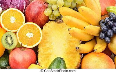 fundo, de, jogo, frutas legumes
