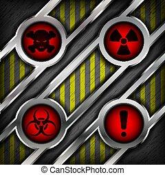 fundo, de, metal, com, sinais, de, perigo