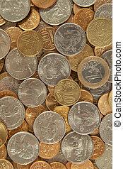 fundo, de, moedas, de, a, diferente, países