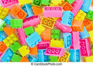 fundo, de, plástico, tijolo, brinquedos