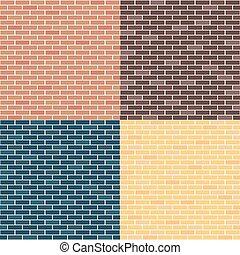 fundo, de, tijolo, walls., vermelho, amarela, azul, brown.,...