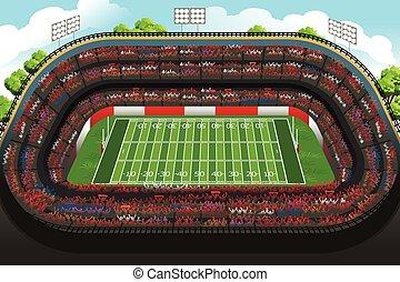 fundo, de, um, vazio, estádio americano futebol