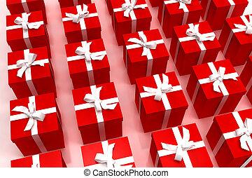 fundo, de, vermelho, giftboxes