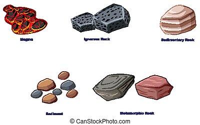 fundo, diferente, branca, tipos, pedras