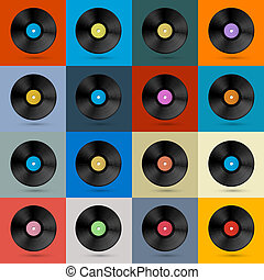 fundo, disco, registro, vinil, vetorial, vindima, retro