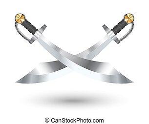 fundo, dois, crucifixos, espada, branca, pirata