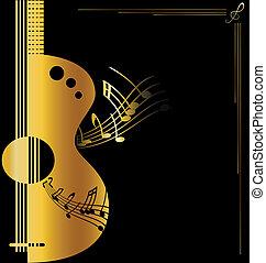 fundo, dourado, guitarra