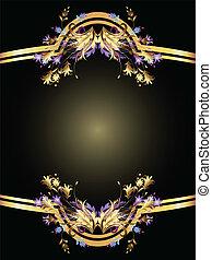 fundo, dourado, ornamento