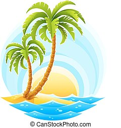 fundo, ensolarado, onda, tropicais, palma, mar