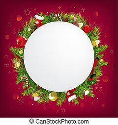fundo, escuro, fala, feliz, bolha, natal, vermelho