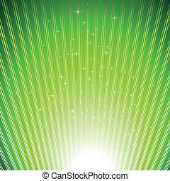 fundo, estouro, cintilante, estrelas, luz verde