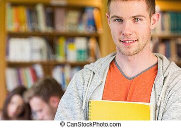 fundo, estudante masculino, biblioteca, outros