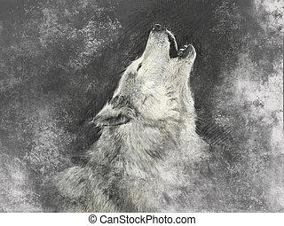 fundo, feito à mão, cinzento, ilustração, lobo