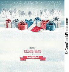 fundo, feriado, presente natal, boxes., vector.
