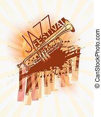 fundo, festival, música jazz, modelo, trompete