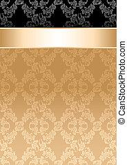 fundo, fita ouro, seamless, padrão floral