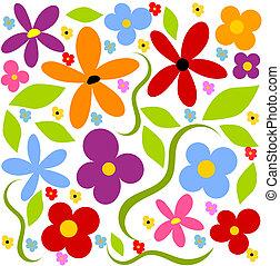 fundo, flor, prado