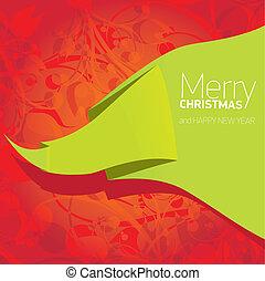 fundo, floral, natal, vetorial, arco, vermelho