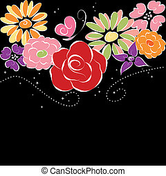 fundo, flores, pretas, springtime, coloridos