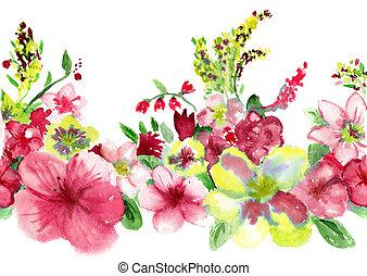 fundo, flowerses, amarela, aquarelas, branco vermelho