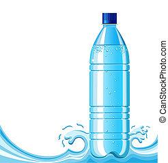 fundo, garrafa, respingue, ilustração, água, limpo, .vector