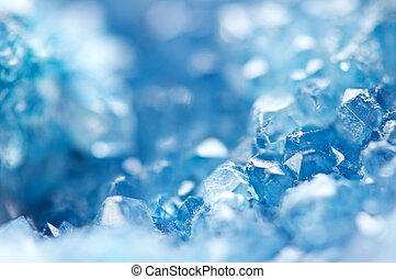 fundo, gelado, macro, crystals., azul, inverno