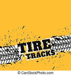fundo, grunge, amarela, pneu, marcas
