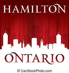 fundo, hamilton, skyline, cidade, vermelho, ontário, canadá, silueta