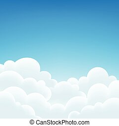 fundo, illustration., vetorial, céu branco, clouds.