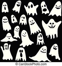 fundo, ilustração, vetorial, fantasmas, -, seamless