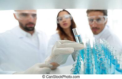 fundo, imagem, é, um, grupo, de, cientistas, estudar, a, líquido, em, a, vidro, tube.