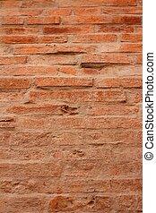 fundo, imagem, de, um, antigas, tijolo, brown.