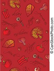fundo, ingredientes, seamless, pizza