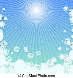 fundo, inverno, luz solar