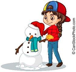 fundo, isolado, boneco neve, menina
