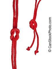 fundo, isolado, corda, nó, branco vermelho