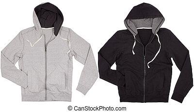 fundo, isolado, dois, camisas, hoodie, branca